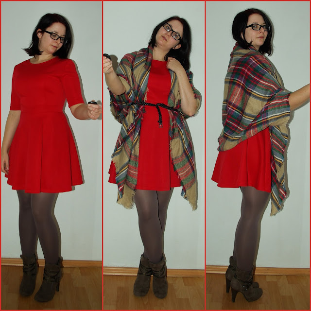 [Fashion] Passion for Plaid Scarves & Red Dresses