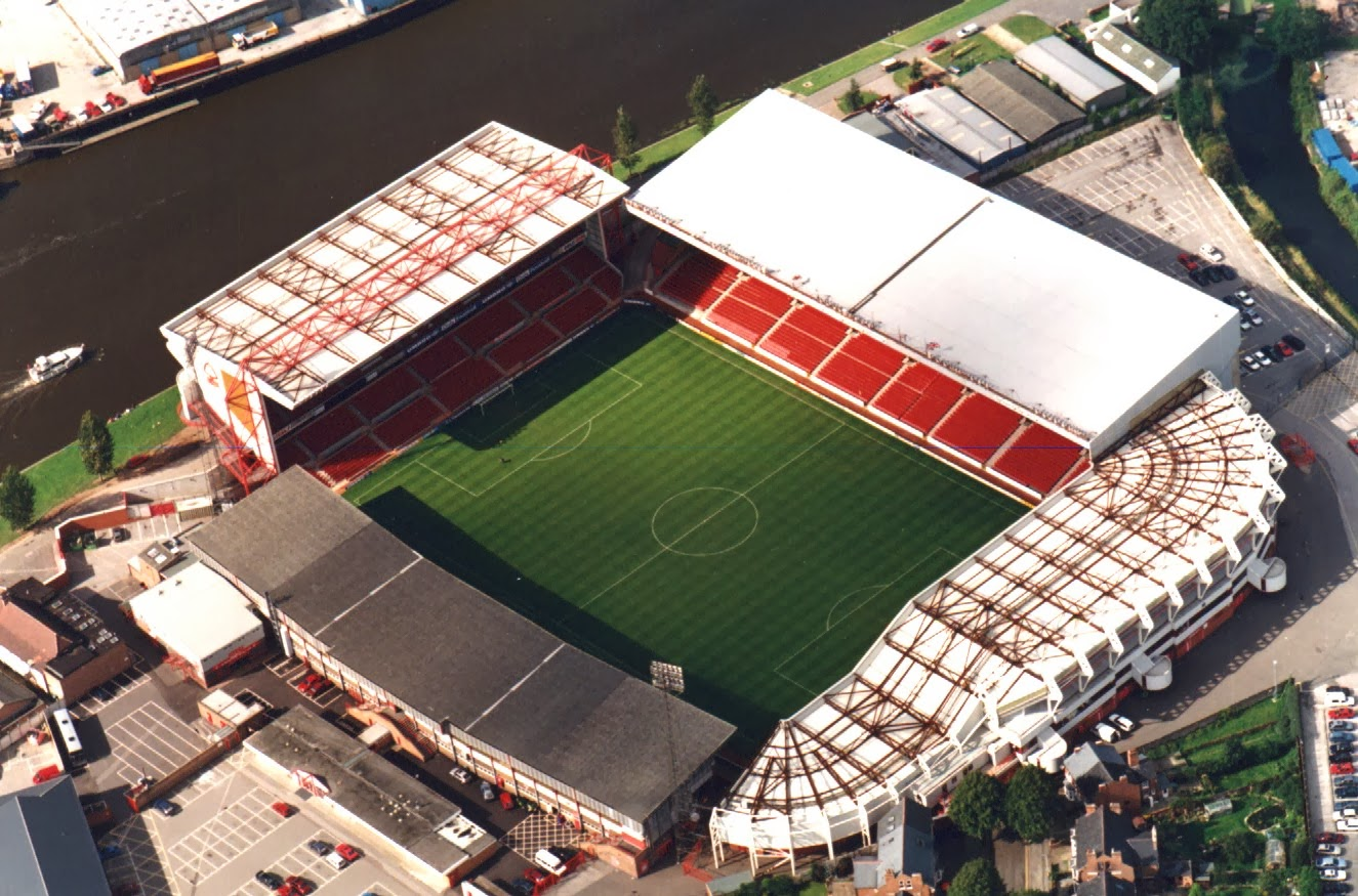 Vista aérea de The City Ground, sede del Nottingham Forest