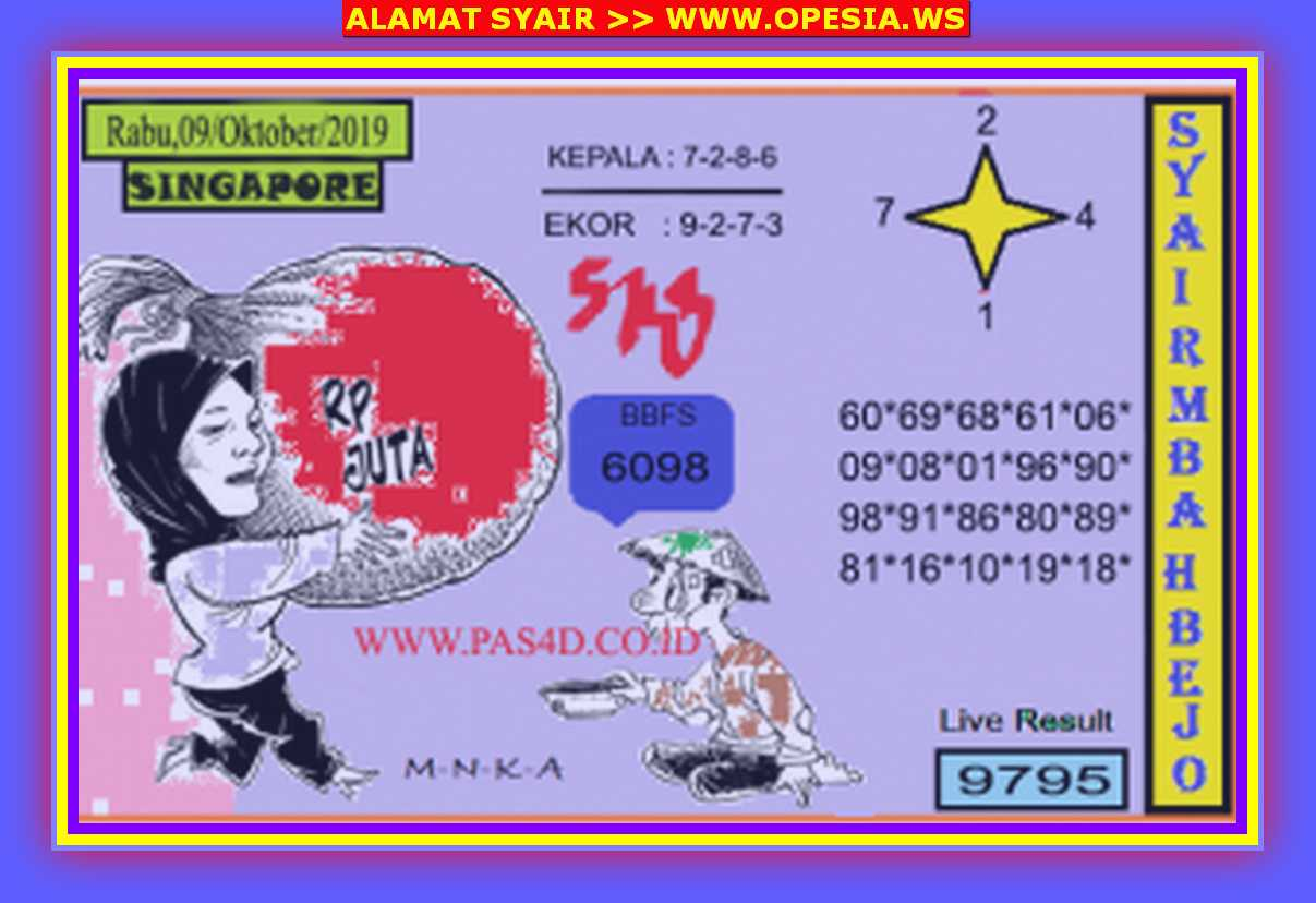 Kode syair Singapore Rabu 9 Oktober 2019 89