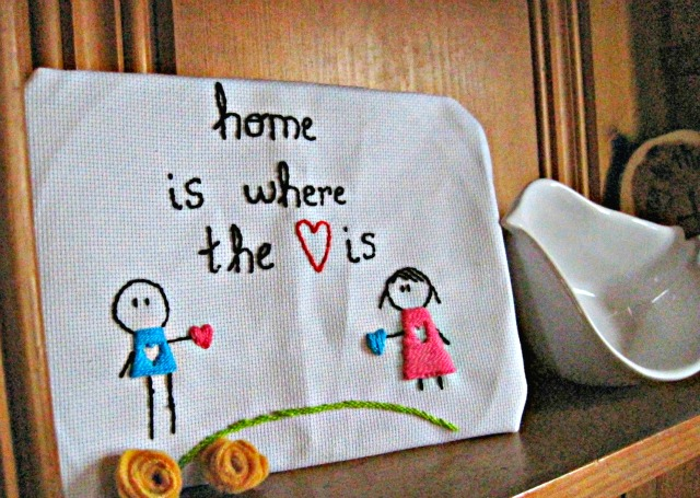 hand embroidery decoration cute heart home lettering long distance dating