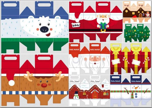 Cajas Lunch para Navidad para Imprimir Gratis.