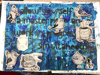 planning of the art journal page using Tim Holtz Stamps