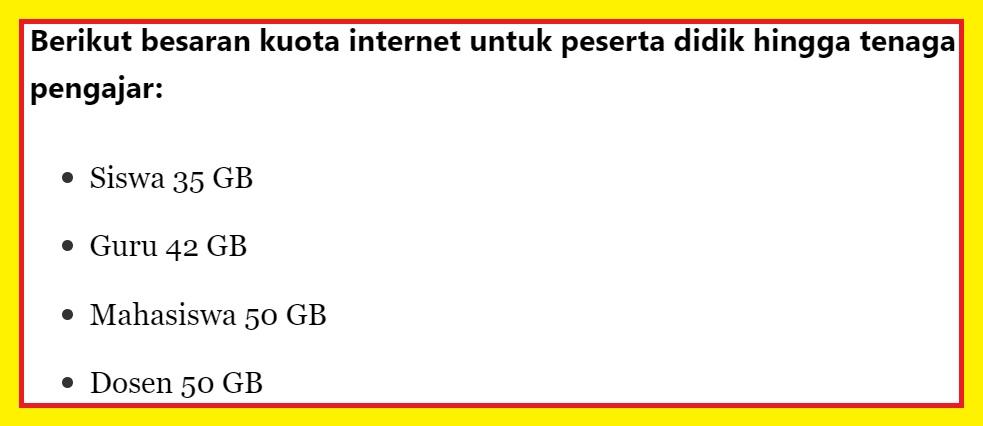gambar besaran Kuota Internet Gratis Untuk Guru, Siswa, Dosen dan Mahasiswa
