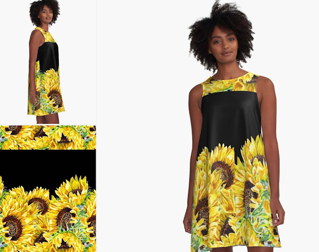 Sunflowers Watercolor Pattern on Clothes Dress artist Irina Sztukowski