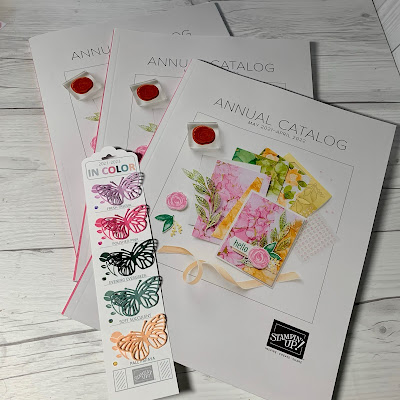 Covers of Stampin' Up! 2021 Annual Catalog and bookmark with 5 new 2021-2023 In Colors