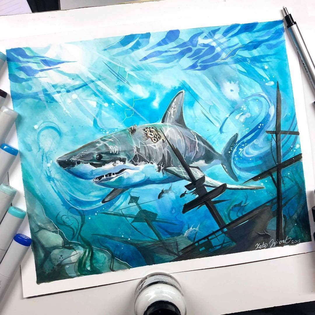 02-Great-White-Shark-K-Lipscomb-Fantasy-and-Real-Life-Animal-Drawings-www-designstack-co