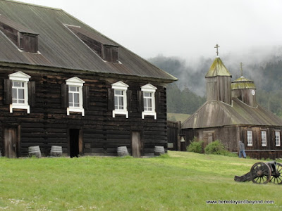 chapel and out building at Fort Ross State Historic Park in Jenner, California