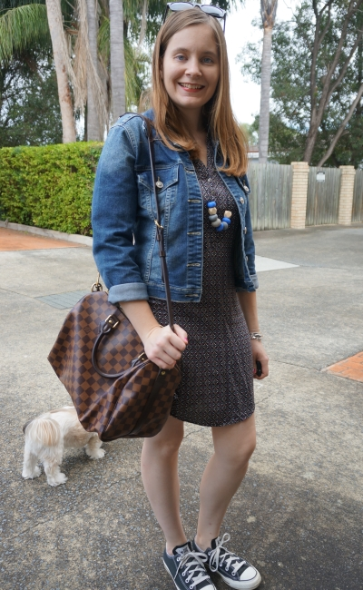Denim Jacket, Converse Jeanswest Printed Shift Dress and LV Speedy Bandouliere | AwayFromBlue
