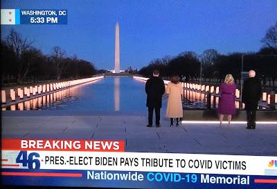 Washington DC Covid Memorial, Joe and Jill Biden, Kamala Harris and Doug Emhoff, National Mall Covid Memorial, blah to TADA