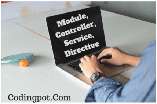 Create moduler, controller, service(factory) and directive in script tag.