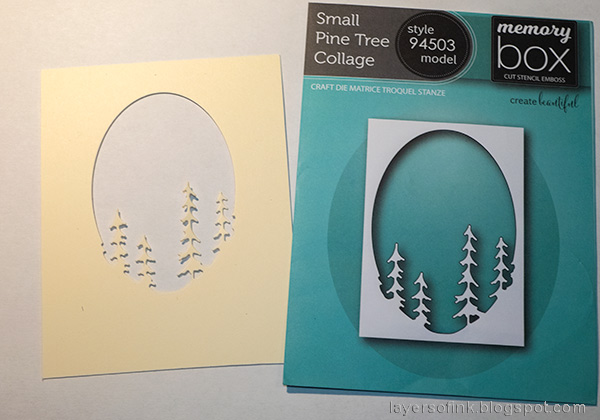 Layers of ink - Forest Shaker Card Tutorial by Anna-Karin Evaldsson. Die cut the pine tree collage.