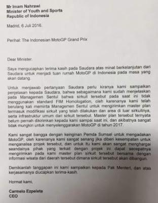 Surat_indonesia_gagal_JadiTuanRumah_MotoGp2017