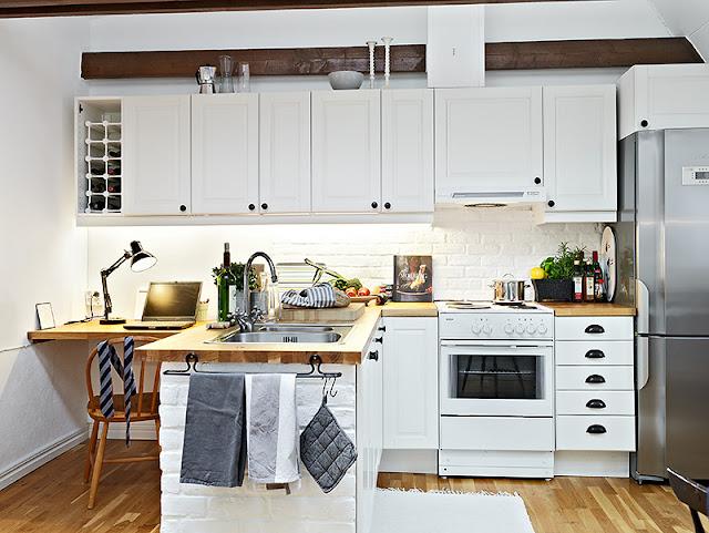 Decoração de home office na cozinha. Blog Achados de Decoração