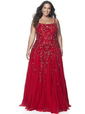 Scope Neckline A-line intrigue by plus blush size prom dress Red Color