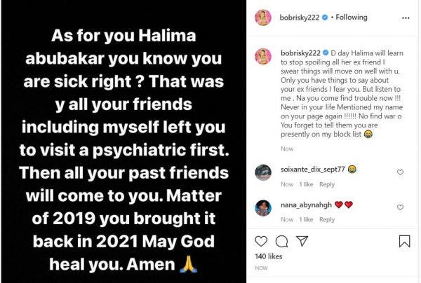 You are very sick- Bobrisky reacts back to Halima Abubakar after she claimed he left a scar in her heart