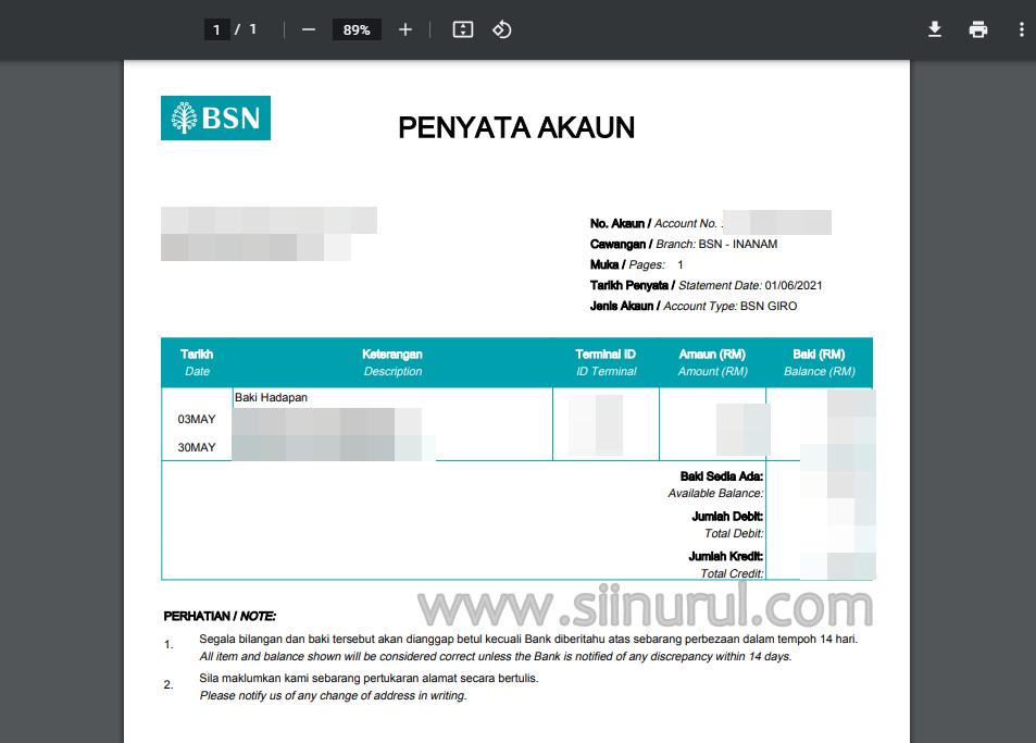 Contoh Penyata Akaun BSN (Bank Statement BSN)