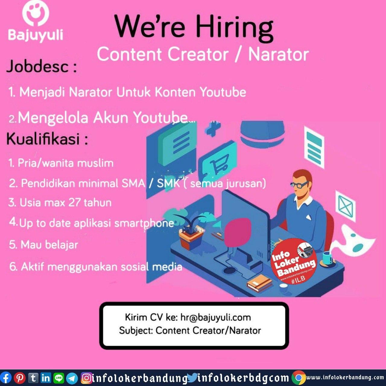 Lowongan Kerja Content Creator / Narator Bajuyuli (PT. Guna Cipta Rekayasa) Bandung Juni 2020