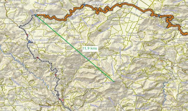 distancia entre puerto ampolas y penyagolosa medida sobre mapa topográfico garmin