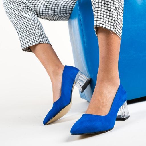 Pantofi cu toc gros transparent din piele intoarsa eco albsatri