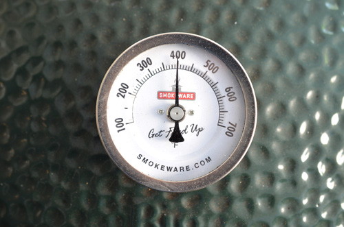 Big Green Egg using a Smokeware thermometer.