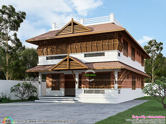 Sloping roof style traditional Kerala home design