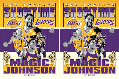 "Los Angeles Lakers ""Showtime"" Magic Johnson Screen Print by Fitz x Phenom Gallery"