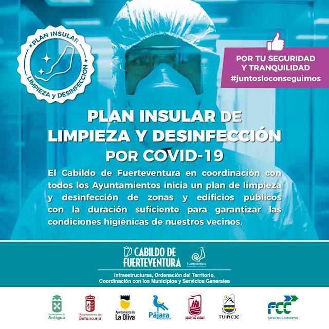 cartel desinfeccion.fuerteventura - Cabildo Fuerteventura desinfecta todos los espacios públicos de la isla con un plan de choque integral