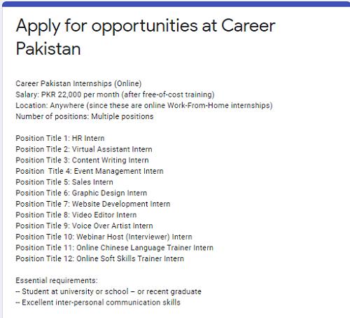 career-pakistan-internship-program-2021