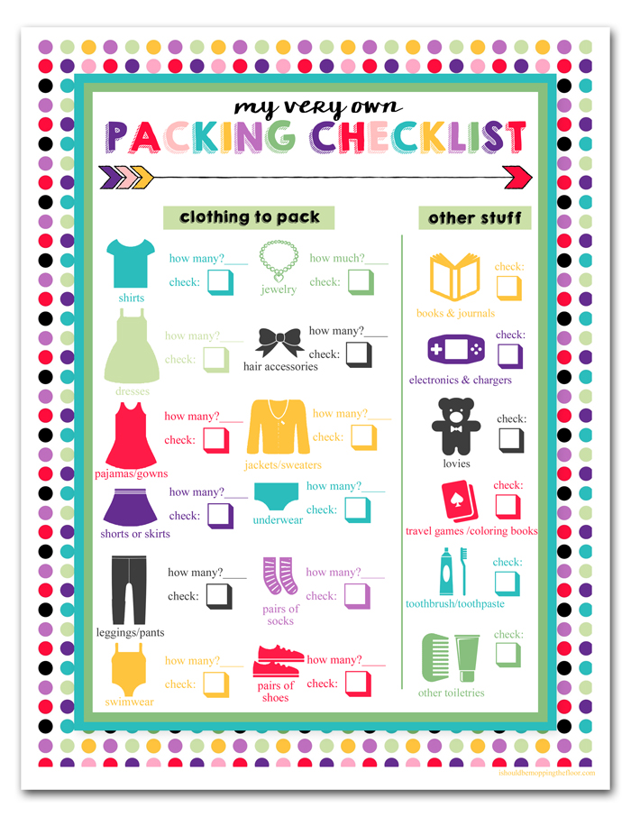 i should be mopping the floor Free Printable Children\u0027s Travel - Vacation Packing List Printable