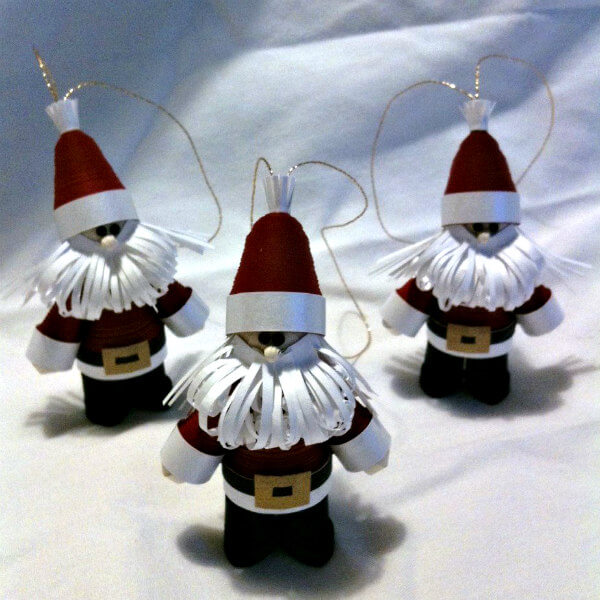 quilling paper trio of Santa tree ornaments in crimson red suits