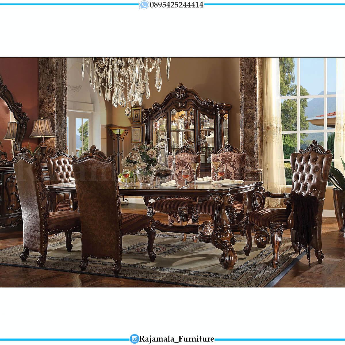 Meja Makan Mewah Jati Jepara Luxury Oscar Leather Fabric RM-0716
