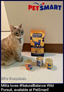 Milita checks out some Natural Balance Wild Pursuit dry and canned cat food.