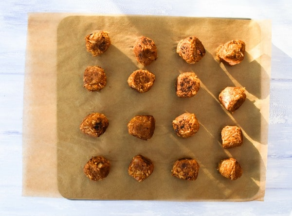 Step 10 - cooked, browned 'meatballs'