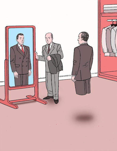 Guy Billout, a strange scene on a clothing store with a customer and salesman