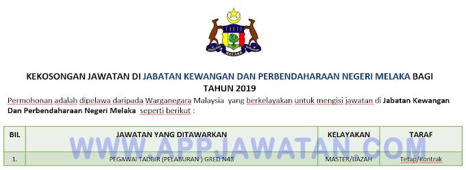 Jawatan Kosong Terkini di Jabatan Kewangan Dan Perbendaharaan Negeri Melaka.