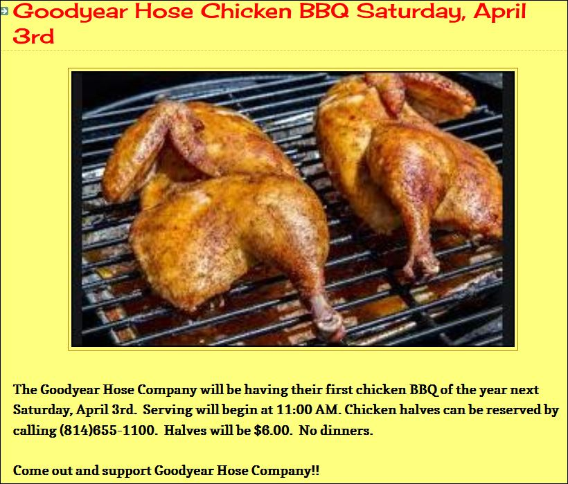 4-3 Chicken BBQ, Galeton