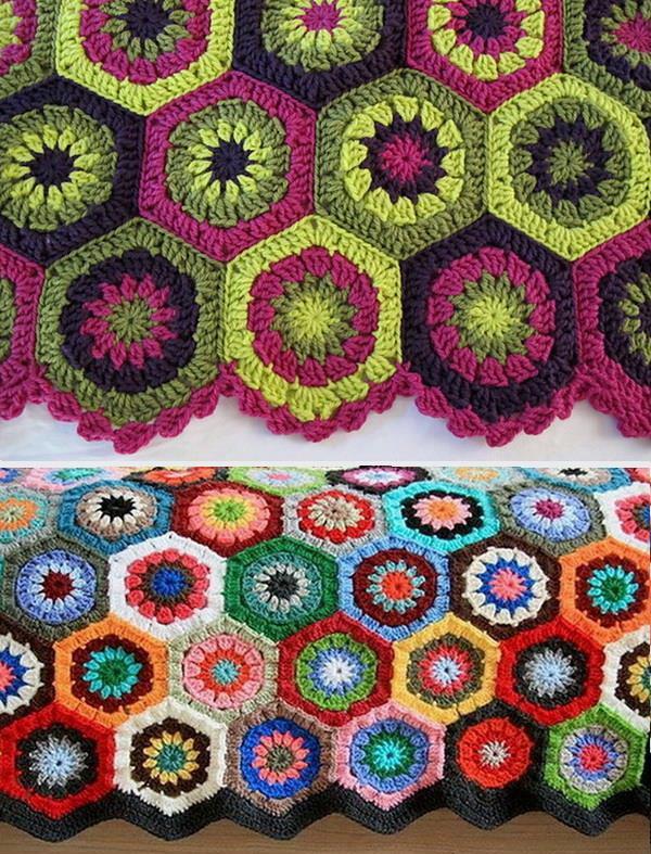 Crochet throw blanket, Hexagon motif