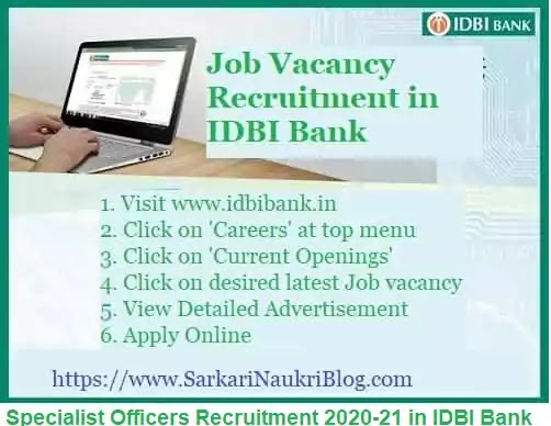 IDBI Bank Specialist Officer Recruitment 2020-21