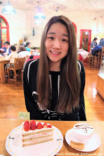 Steph and her Strawberry Shortcake at the Ghibli Museum Straw Hat Café in Tokyo, Japan