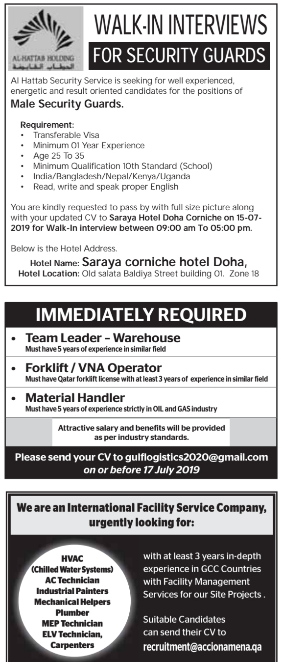 NEW REQUIREMENTS IN QATAR - APPLY - Career Opportunities4you