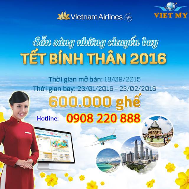 Vietnam Airline mở bán vé máy bay tết 2016