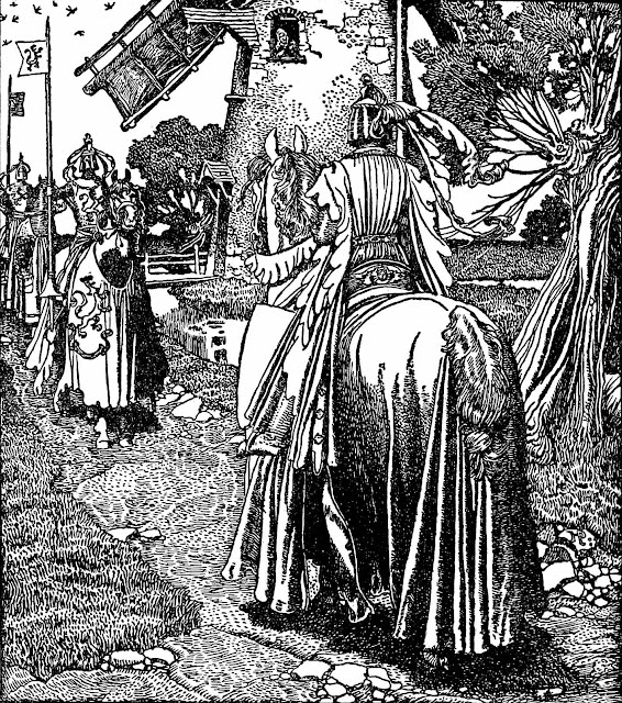 a Howard Pyle book illustration of armored knights on horseback meeting