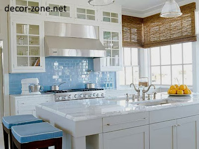 kitchen backsplash tile ideas sky blue color