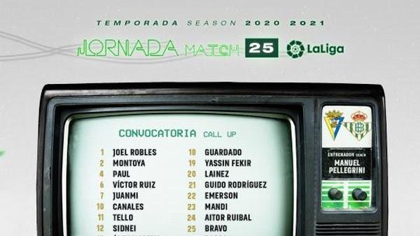 Betis, 22 convocados ante el Cádiz