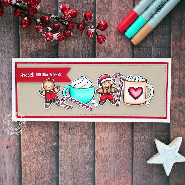 Sunny Studio Stamps: Christmas Cookies Slimline Dies Mug Hugs Christmas Card by Vanessa Menhorn