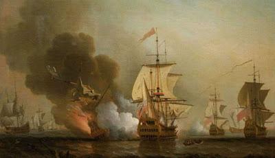 Ilustrasi kapal San Jose yang tenggelam saat pertempuran.