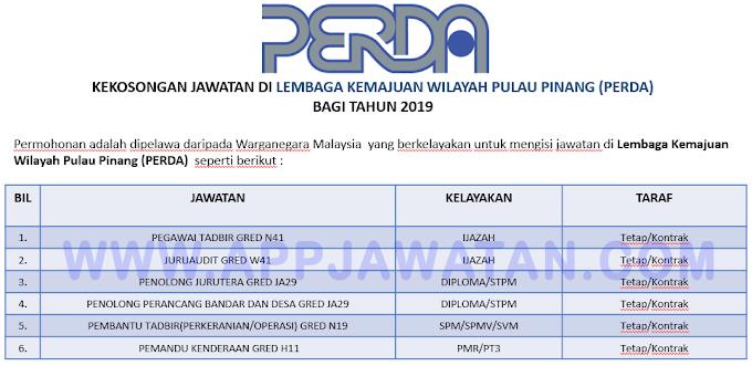 Jawatan Kosong Terkini di Lembaga Kemajuan Wilayah Pulau Pinang (PERDA).