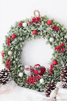 ghirlanda natalizia con piantina invernale
