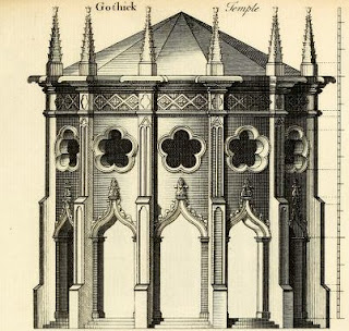 Design for a Gothic temple from Gothic architecture, improved by rules and proportions by B & T Langley (1747)