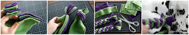 Side-by-side comparison of a full and a single strand overhand end knot on fleece dog tug toy